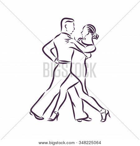 A Pair Of Dancers Dances A Latin Dance, Vector Sketch Illustration
