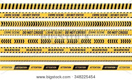 Danger Ribbon. Alert Stripes, Warning Tape And Striped Yellow And Black Ribbons Realistic Vector Ill