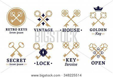 Vintage Key Label. Old Keys Emblem, Retro Lock And Key Service Vector Set. Collection Of Elegant Cor