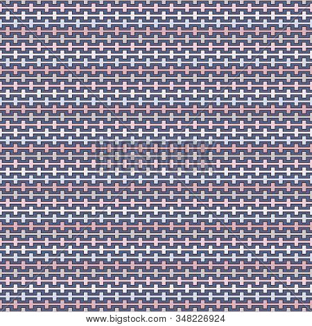 Pastel Colors Seamless Pattern With Battlement Curved Lines. Repeated Geometric Figures Wallpaper. M