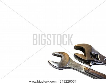The Wrench To Repair.tools For Construction On White Background. Unscrew The Bolt. Device For Unscre