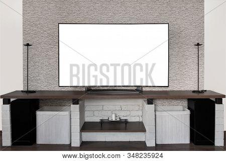 Modern Curved  Oled Tv On A Creative Shelf. Smart Tv Mockup With White Screen