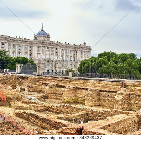 Madrid, Spain - January 29, 2020. Remains Of The Basements Of The Godoy Palace Or Grimaldi Palace, B