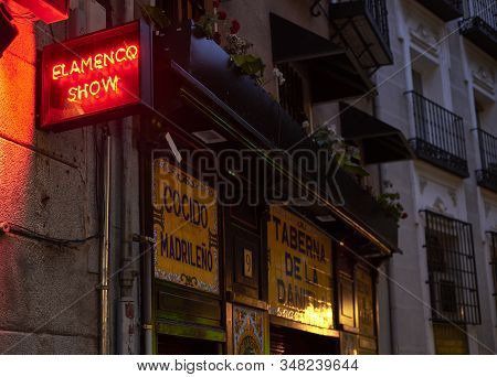 Madrid, Spain - January 29, 2020. A Typical Tavern In Downtown Madrid At Nightfall. Madrid, Spain.