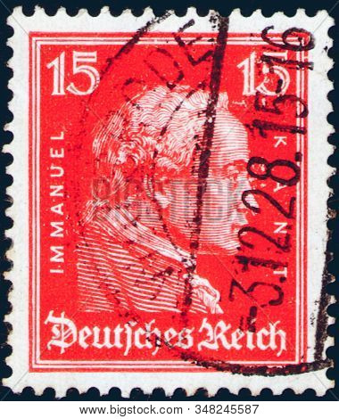 Saint Petersburg, Russia - January 26, 2020: Stamp Issued In The Germany With A Portrait Of Immanuel