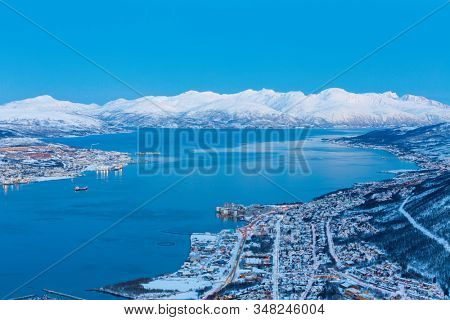 Aerial View on Tromso City, Norway, Tromso At Winter Time, Christmas in Tromso, Norway