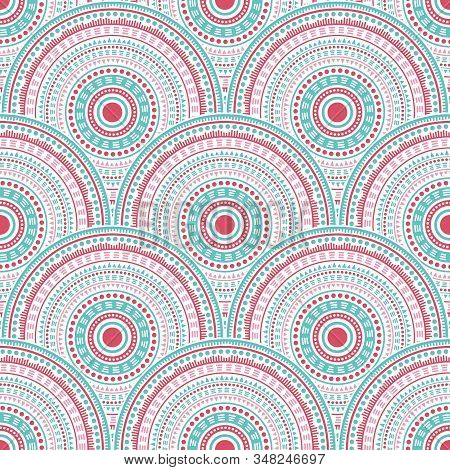 Indian Circle Elements Carpet Design Vector Seamless Pattern. Oriental Motifs Vintage Repeating Illu