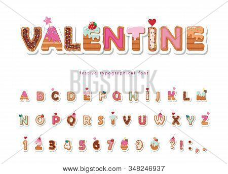 Valentine Sweet Font. Cute Decorative Alphabet. Girly Cartoon Letter And Number Stickers. Paper Cut