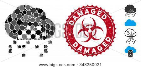 Mosaic Cloud Dissipation Icon And Corroded Stamp Watermark With Damaged Phrase And Biohazard Symbol.