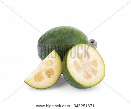 Green Feijoa Fruits Isolated On White Background. Fruits Of Feijoa On A White Background. Tropical F
