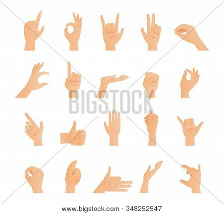 Set Of Hands In Different Gestures. Signs Collection, Arms Showing Different Emotions Flat Vector Il