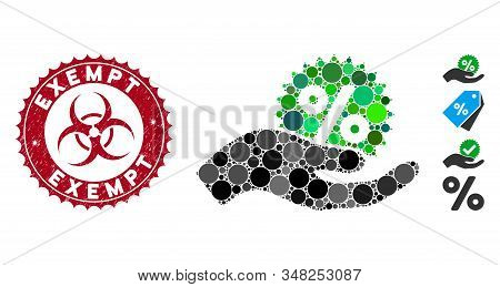 Mosaic Give Percent Bonus Icon And Grunge Stamp Seal With Exempt Phrase And Biohazard Symbol. Mosaic