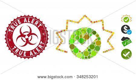 Mosaic True Alert Icon And Grunge Stamp Watermark With True Alert Phrase And Biohazard Symbol. Mosai