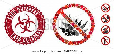 Collage No Bang Icon And Rubber Stamp Seal With Sars Outbreak Text And Biohazard Symbol. Mosaic Vect