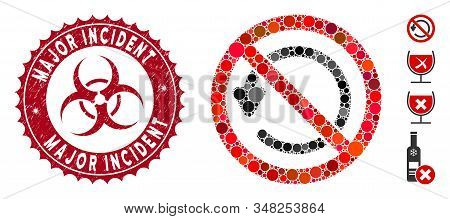 Mosaic Not Rotate Icon And Grunge Stamp Watermark With Major Incident Caption And Biohazard Symbol.