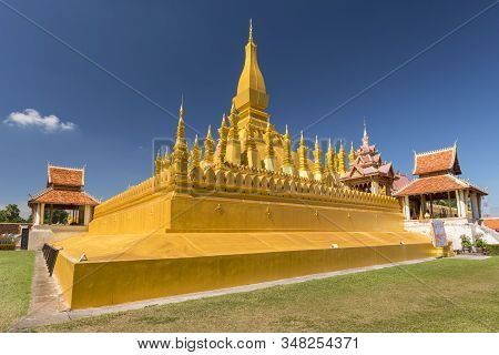 Pha That Luang, Symbol Of The Laos Sovereignty, Buddhist Religion And The City Of Vientiane, Laos.
