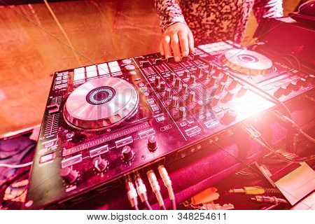 Dj Music Night Club, Dj Equipment - Cd Players And A Dj Console During A Party. Closeup