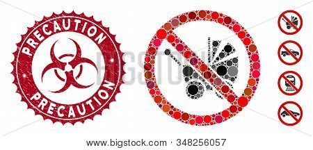 Mosaic No Baby Carriage Icon And Corroded Stamp Watermark With Precaution Text And Biohazard Symbol.