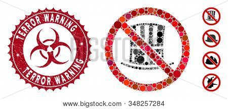 Mosaic No American Hat Icon And Rubber Stamp Watermark With Terror Warning Phrase And Biohazard Symb