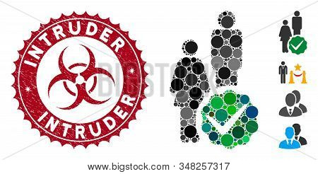 Collage For People Only Icon And Grunge Stamp Seal With Intruder Text And Biohazard Symbol. Mosaic V