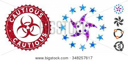 Mosaic Europeans Collaboration Icon And Grunge Stamp Seal With Cautious Text And Biohazard Symbol. M