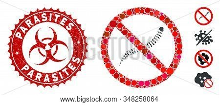 Collage No Helminth Worms Icon And Rubber Stamp Seal With Parasites Phrase And Biohazard Symbol. Mos
