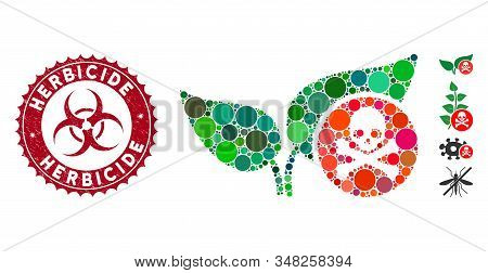 Mosaic Herbicide Icon And Grunge Stamp Seal With Herbicide Text And Biohazard Symbol. Mosaic Vector