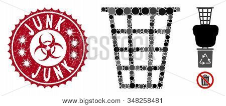 Mosaic Junk Icon And Corroded Stamp Seal With Junk Caption And Biohazard Symbol. Mosaic Vector Is Cr