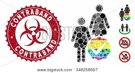 Mosaic For Lesbians Icon And Grunge Stamp Seal With Contraband Text And Biohazard Symbol. Mosaic Vec