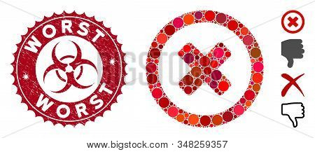 Collage Wrong Icon And Grunge Stamp Seal With Worst Phrase And Biohazard Symbol. Mosaic Vector Is De
