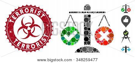 Mosaic Truth Decision Icon And Rubber Stamp Seal With Terrorist Phrase And Biohazard Symbol. Mosaic
