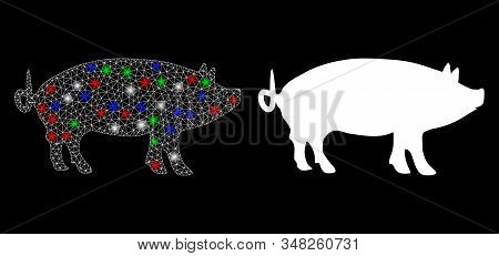 Glossy White Mesh Pig With Lightspot Effect. Abstract Illuminated Model Of Pig. Shiny Wire Frame Tri