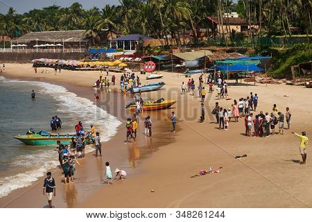 Panaji, Goa, India - December 15, 2019: The Crowded Beach In Goa Near The Fort.