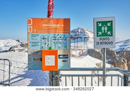 Dolomites, Italy - January 24, 2020: Ortovox Check Point For Verifying Avalanche Beacons At The Begi