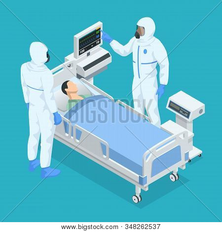 Isometric Concept Of Icu Room In A Hospital With Medical Equipment And Ospitalized Man Lying In Bed