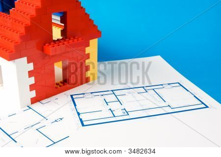 Blueprint For Home And A Model Of House