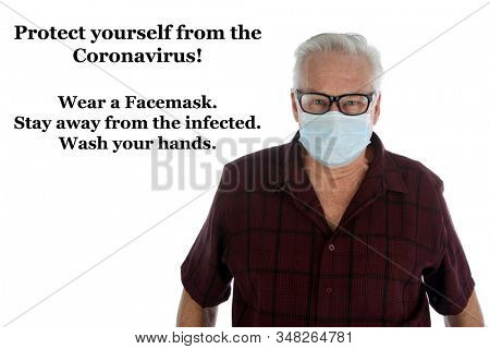 Coronavirus. 2019-nCoV. 2019 Novel Coronavirus. A Caucasian Man wears a face mask to protect himself from the Coronavirus from China. Isolated on white. Room for text. Clipping Path. Healthcare.