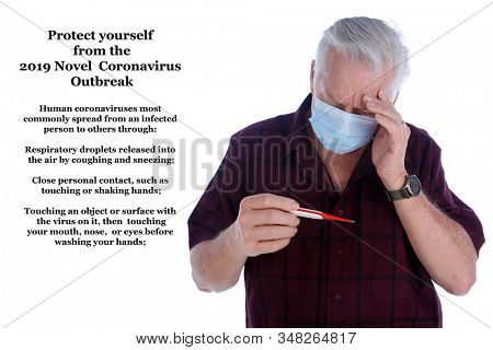 Chinese Coronavirus. 2019-nCoV. 2019 Novel Coronavirus. Man wears a Face Mask while looking at a Thermometer while checking his temperature. Room for text. Coronavirus from China. Coronavirus 2019