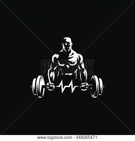 Fitness Man Holds Barbell In His Hands And Trains Biceps. Vulture Barbell In The Form Of Heart Rate.