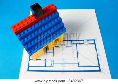 Blueprint For A House And A Toy House