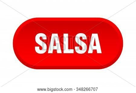 Salsa Button. Salsa Rounded Red Sign. Salsa