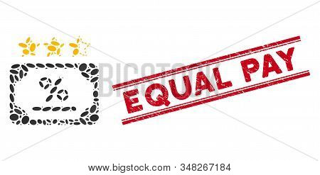 Mosaic Bond Rating Icon And Corroded Stamp Watermark With Red Equal Pay Phrase Between Double Parall