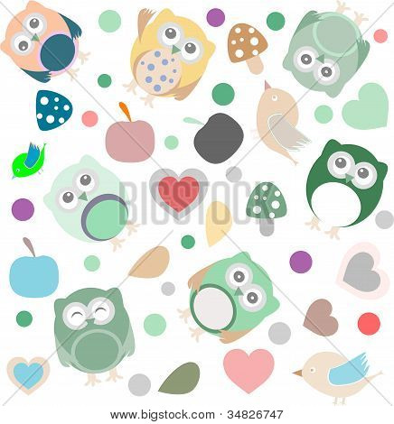 Bright background with owls leafs mushrooms and flowers. Seamless pattern. poster