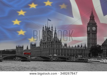 Brexit Conceptual Image With Flags Of United Kingdom And European Union Over A Image Of London.