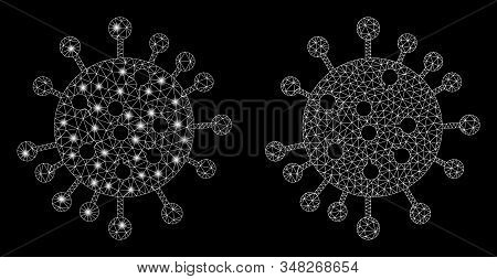 Glowing Mesh Sars Virus With Glitter Effect. Abstract Illuminated Model Of Sars Virus Icon. Shiny Wi