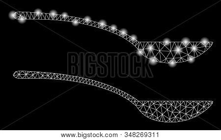 Bright Mesh Empty Spoon With Glow Effect. Abstract Illuminated Model Of Empty Spoon Icon. Shiny Wire