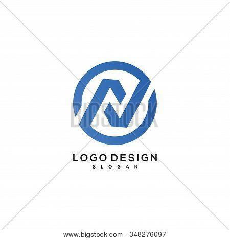 Initial Letter N Logo Circle Vector Designs