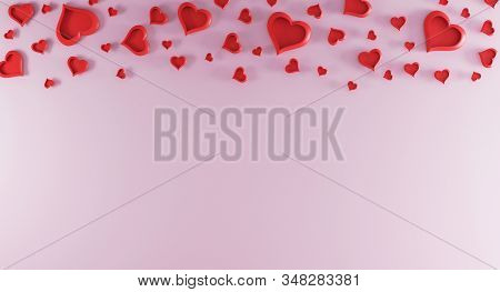 Valentines Day Pink Background With Red Hearts On Top. Valentines Day Concept. Top View. Romantic Ba