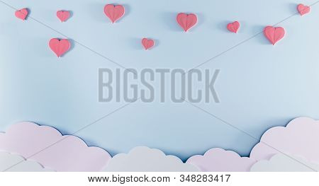 Light Blue Background With Paper Clouds And Pink Hearts. Valentine's Day And Baby Birth Background C