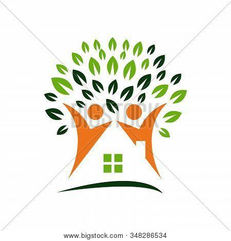 Nursing Home Logo Design Home Care Elderly Logo Vector Illustrations